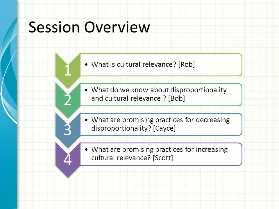 Session Overview 1 2 3 4 What is cultural relevance [Rob]